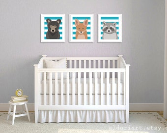 Bear Fox Raccoon Art Prints - Woodland Baby Animals Nursery Art Prints - Turquoise Stripes