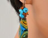 LP 1225 Rainbow Jasper, Sleeping Beauty Turquoise and Carnelian Earrings