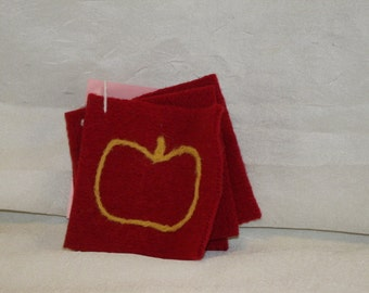 Set of 4  Upcycled/Recycled Red Felted Wool Sweater Coasters with Needle-Felted Apples