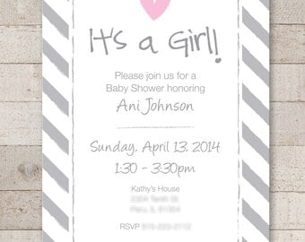 Girls Baby Shower Invitations - Pink and Gray - Baby Shower, Bridal Shower Decorations - Heart and Stripe - Set of 12