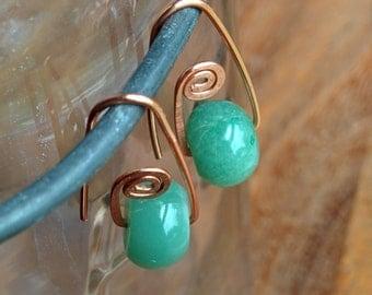 Hammered Swirl Copper and Aventurine Earrings