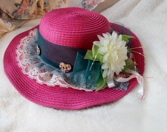 Hot Pink Girls' Embellished Handmade Straw Hat