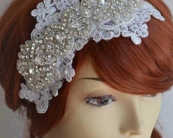 WINTER SALE Bridal Ivory Lace Rhinestone headpiece,1920s lace rhinestone headband, Bridal Bohemian lace headband, Rhinestone beaded headband