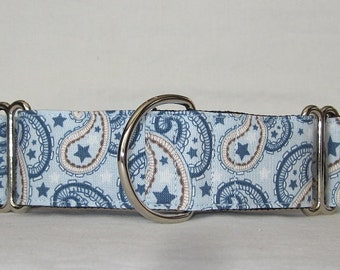 CLEARANCE Star Paisley Martingale Dog Collar - 1.5 Inch - blue beige tan fun handsome boy