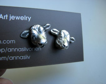 Silver cow earrings niobium or titanium post