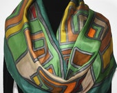 Silk Scarf Hand Painted Silk Shawl Green, Brown, Terracotta Hand Dyed Silk Scarf JOY STORY Large14x72 Holidays Gift Scarf Gift-Wrapped Scarf