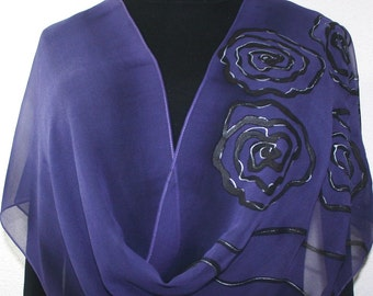 Purple Silk Scarf. Roses Hand Painted Silk Scarf. Aubergine Chiffon Shawl LILAC WHISPERS Large 14x70 Birthday Anniversary Gift, Gift-Wrapped