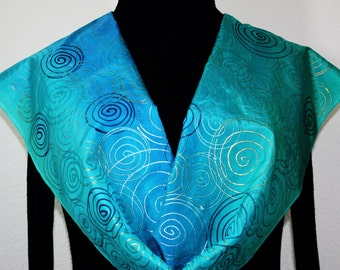 Silk Scarf Hand Painted Silk Shawl Teal Turquoise Blue Hand Dyed Silk Scarf TURQUOISE GEM Size 11x60 Birthday Gift Scarf Gift-Wrapped Scarf
