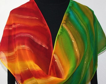 Silk Scarf Hand Painted Chiffon Silk Shawl Red Yellow Green Scarf SHINING RAINBOW Size 11x60 Anniversary Gift Birthday Gift Free Gift-Wrap