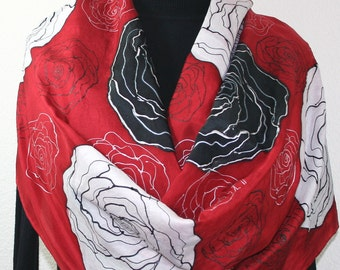 Red, Black, White Hand Painted Silk Scarf FLYING ROSES. Extra Large 22x72. Birthday Gift, Bridesmaid Gift. Mother Gift. Valentine Gift