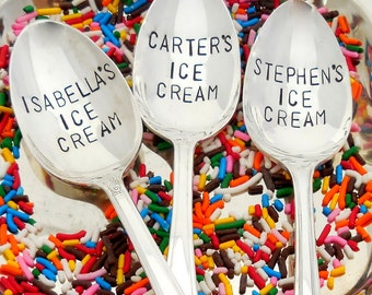Personalized Ice Cream Spoon. You CHOOSE Style, SIZE and FONT. The Original Hand Stamped Vintage Spoons™ 2014 Martha Stewart American Made