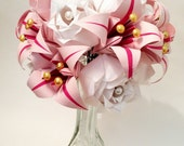 Ready to Ship Roses & Lilies bouquet- Valentine's Day Sale, vase included, one of a kind origami, perfect for her, anniversary gift, wedding