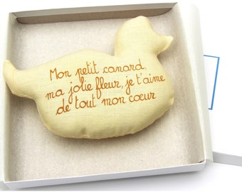 Baby Rattle DUCK w/ French poem . Baby Shower Gift . Handwriting . Hypoallergenic . Linen