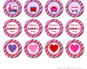 PRINTABLE Valentine's Train (Girl) Party Circles