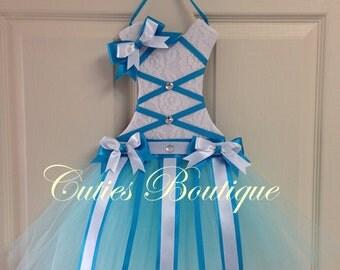 Tutu Dress Hair Bow Holder Turquoise Aqua White