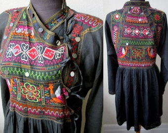Rare Antique Thar Gipsy~Kutch Bangara Rajasthani Embroidered Cotton Tribal Tunic Jacket