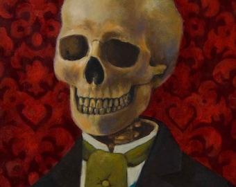 Skeleton Print, , Skull Print, Gothic Skeleton, Gothic Skull, Victorian, Halloween Art,  Steampunk Art, Gothic Art, , Red, Spooky, Creepy