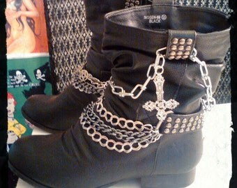 Black Slouch Boots - Studs, Spikes, Chains and Crucifix - Woman's size 5 1/2