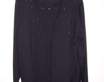 Croft & Barrow Woman, Black Sweater with Bling, Size 2X, Sale, by Nanas Vintage Shop on Etsy