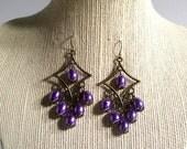 Purple Chandelier Earrings, Bronze Purple Pearl Tear Drop Earrings, 3 Inch Earrings, Available Colors, Select Ear Wires