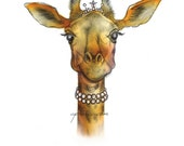 giraffe wearing tiara and pearls original color art print 8.5x11