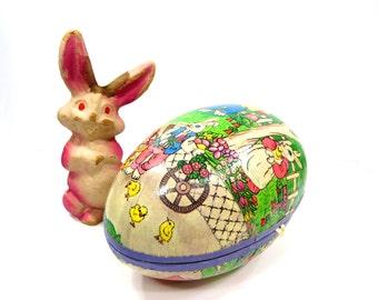 Vintage Paper Mache Pink Bunny Rabbit & Easter Egg Candy Holder, Spring Decor