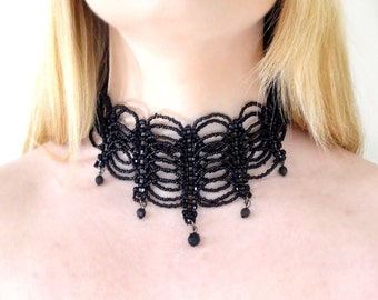 Beaded Black Gothic Choker Necklace