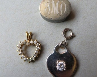 Vintage Lot of 3 Pendants & Charm. 1 Solid Sterling Silver GP Heart Pendant, 2 Silver Plate