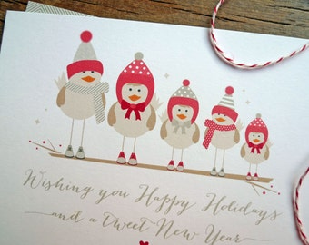 Bird Family Christmas Cards, Personalized Bird Christmas Card Set Family or Couple