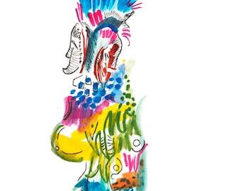 "Small Unique Original Surreal Abstract Watercolor Tribal Figure Art, 6"" x 6"" - 327"