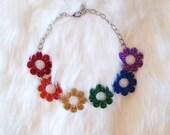 Rainbow Glitter Flower Power Choker