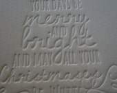 Letterpress Christmas Cards .... Merry and Bright Blind Emboss