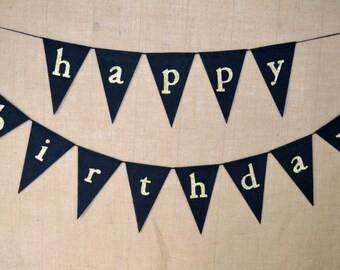 Happy Birthday banner  ..   Party Banner  ...   Adult Birthday  ..  gold