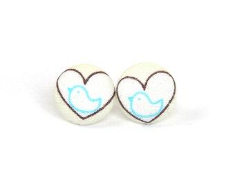 SALE Heart stud earrings - bird earrings - tiny fabric earrings - bright button earring - gift for her - stocking stuffer - beige white blue
