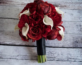 Red Peony Rose and Calla Lily Wedding Bouquet