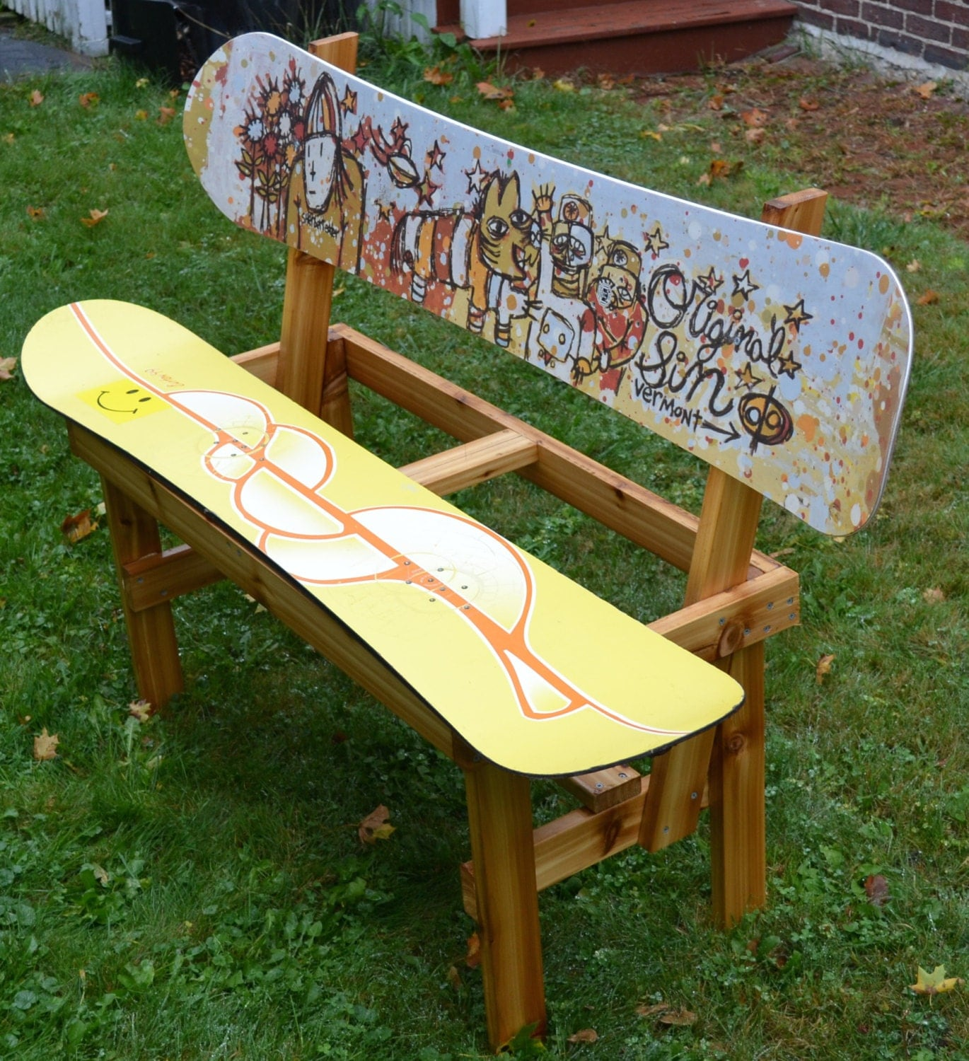 Recycled snowboard bench for Skateboard chair plans
