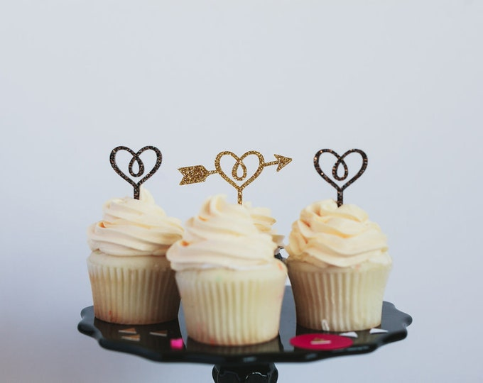 Hearts and Arrows Cupcake Toppers, Laser Cut, Acrylic, 6 Ct., Valentine's Day Cupcake Toppers