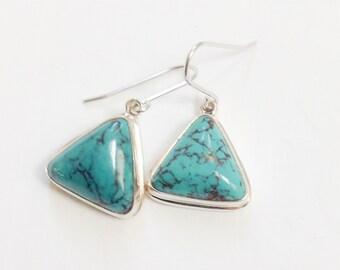 Turquoise earrings, Genuine turquoise earrings, Turquoise dangle earrings, geometric turquoise earrings, december birthstone turquoise