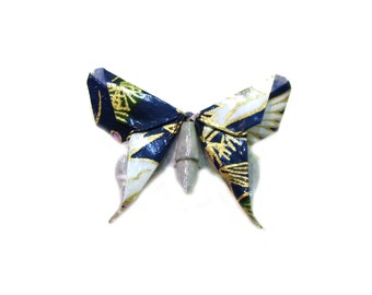 Origami Butterfly Brooch Blue White and Gold