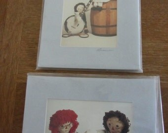 SALE Raggedy Ann and Andy doll photos by Richard Krause - two - mats are 8 x 10 inches