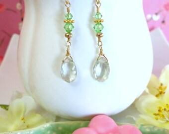 Green amethyst gold drop earrings, sage green earrings, green amethyst gemstone earrings, August birthstone earrings, green drop earrings