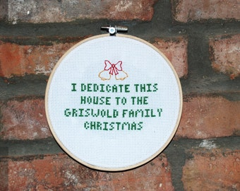 "Christmas Vacation Cross Stitch Movie Quote- ""Griswold Family Christmas"""