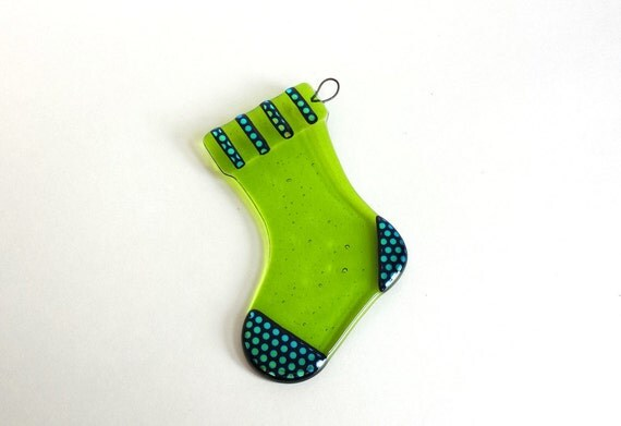 Lime Green Fused Glass Stocking Ornament - Chartreuse Christmas Stocking with Dichroic Accents - Lime Green Christmas Decoration