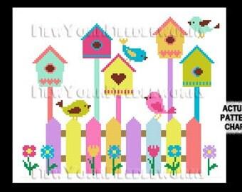 Birdhouses, Birdhouse Cross Stitch, Cross Stitch Birds, Birds, Bird Pattern, Cross Stitch, Birds Cross Stitch from NewYorkNeedleworks Etsy
