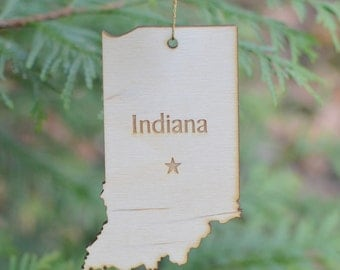 Natural Wood Indiana State Ornament