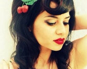 Adorable rockabilly pin up glitter cherry hair clip