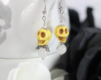 Yellow Skull Angel Earrings-LAST ONE
