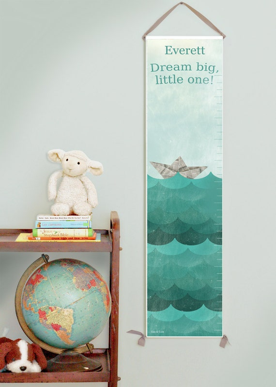 "Custom/ Personalized Paper boat ""Dream Big"" canvas growth chart"