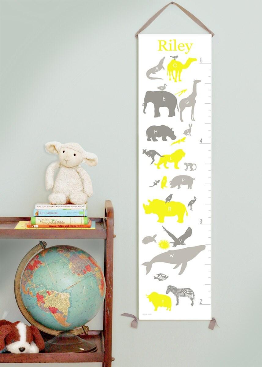 Custom/ Personalized Alphabet Animals canvas growth chart