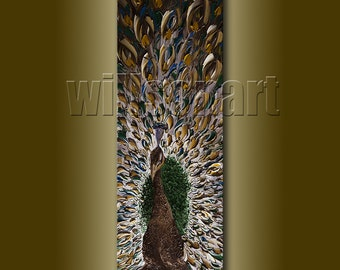 Modern Animal Oil Painting Peacock Textured Palette Knife Contemporary Original Art 12X36 by Willson Lau